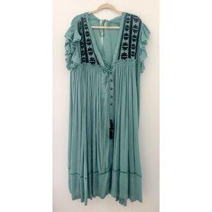 NWT Free People Flowy Maxi Dress- Green